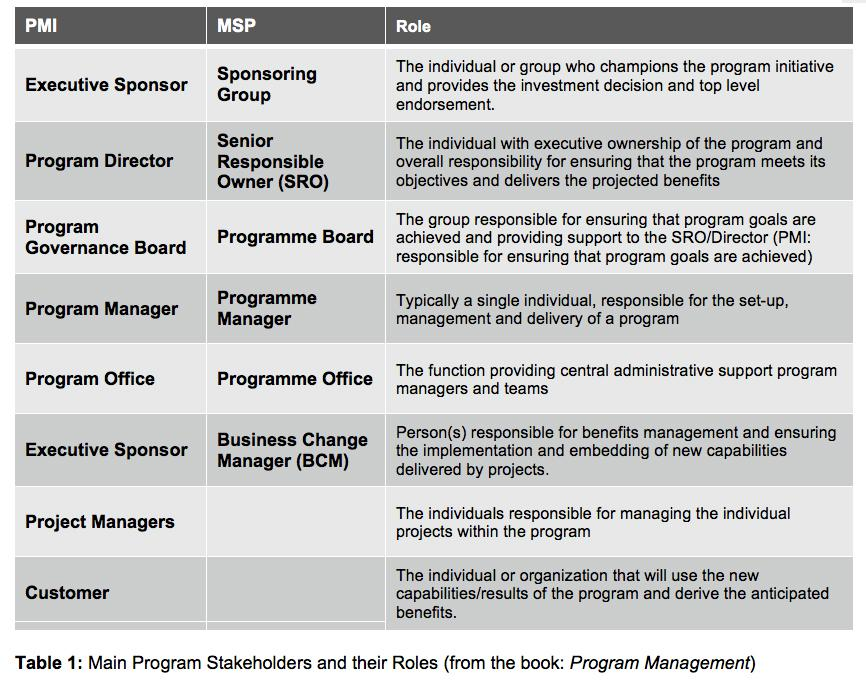 Main Program Stakeholders and their Roles (from Michel Thiry's book 'Program Management')