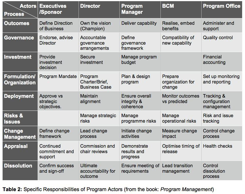 Specific Responsibilities of Program Actors (from Michel Thiry's book 'Program Management')