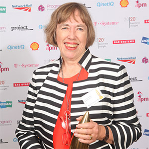Professor Lynn Crawford with the Sir Monty Finniston Award for Life Achievement